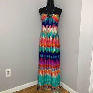 Colorful Maxi Dress Halter Top